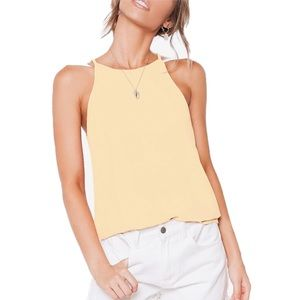 Hot Miami Styles Pale Yellow Halter High Neck Top